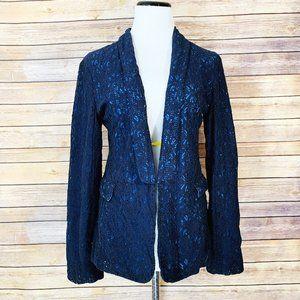 Sam & Lavi Navy Blue Lace Contrast Blazer Jacket